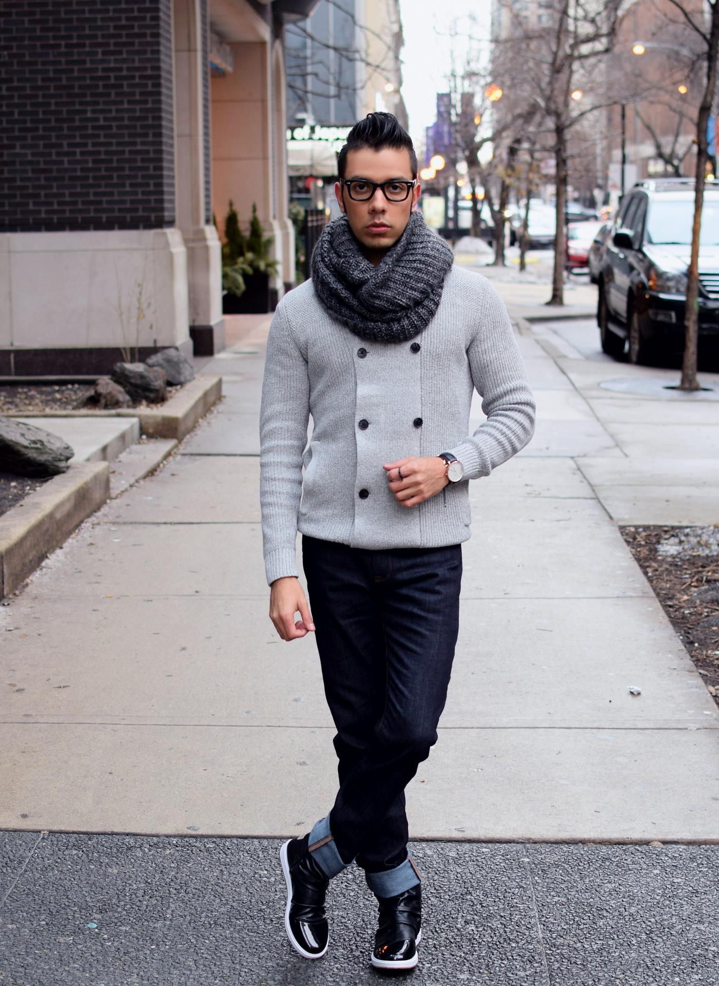 Men s Grey Double Breasted Cardigan fba6bb4994d0