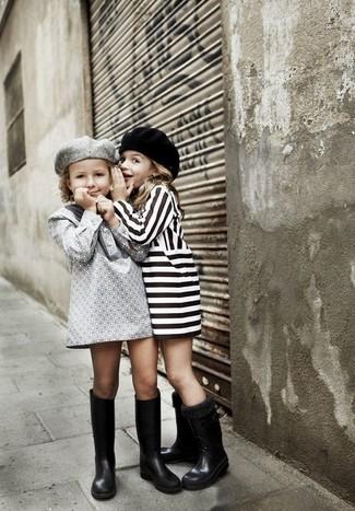 How to wear: grey dress, black rain boots, grey beret