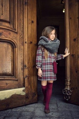How to wear: grey plaid dress, dark brown ballet flats, burgundy knee high socks, grey fur scarf