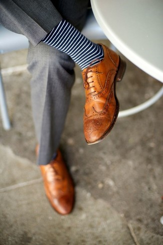 How to wear: grey dress pants, tan leather brogues, navy and white horizontal striped socks