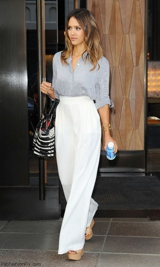 7e2da1167 ... Jessica Alba wearing Grey Vertical Striped Dress Shirt