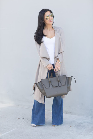 How to wear: grey duster coat, white tank, blue flare jeans, charcoal leather tote bag