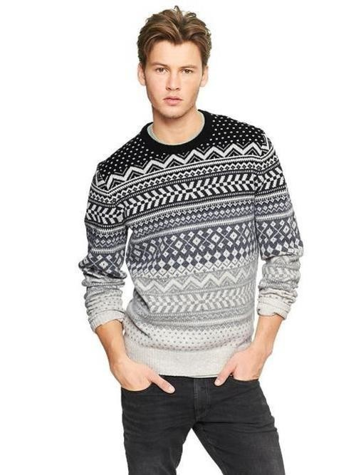 Men's Grey Fair Isle Crew-neck Sweater, Grey Crew-neck T-shirt ...