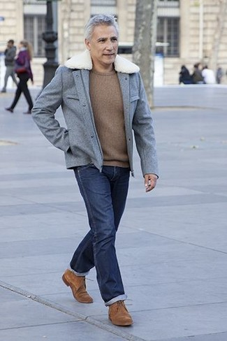 How to wear: grey wool field jacket, brown crew-neck sweater, navy jeans, brown suede derby shoes