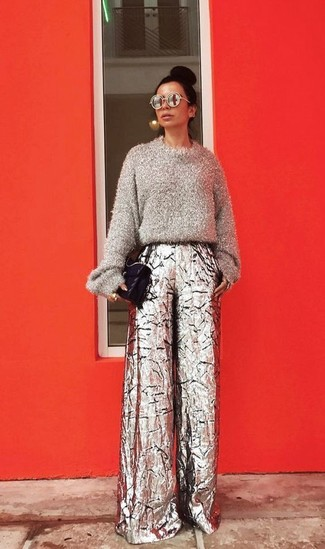 How to wear: grey fluffy crew-neck sweater, silver wide leg pants, black quilted leather satchel bag