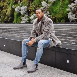 Men's Grey Suede Chelsea Boots from Asos | Men's Fashion