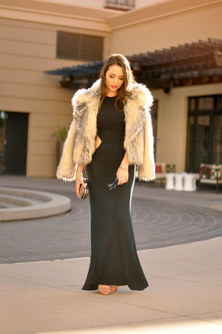 Marry an Asos women's Coat In Vintage Faux Fur with a dark green maxi dress for a casual level of dress. Complement this ensemble with tan leather heeled sandals. We love that this combination is great come fall.