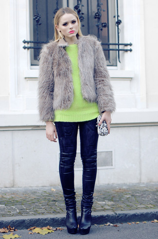 How to wear: grey fur jacket, green-yellow crew-neck sweater, black leather leggings, black leather ankle boots