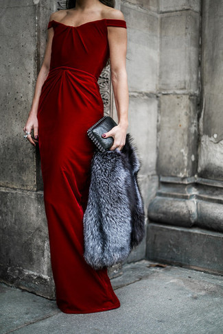 How to Wear a Grey Fur Jacket In Your 30s: Teaming a grey fur jacket with a red velvet evening dress is an awesome option for a smart and elegant look.
