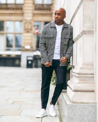 Black Chinos Outfits: Make a grey plaid harrington jacket and black chinos your outfit choice for comfort dressing with a clear fashion twist. On the shoe front, this getup pairs brilliantly with white leather low top sneakers.