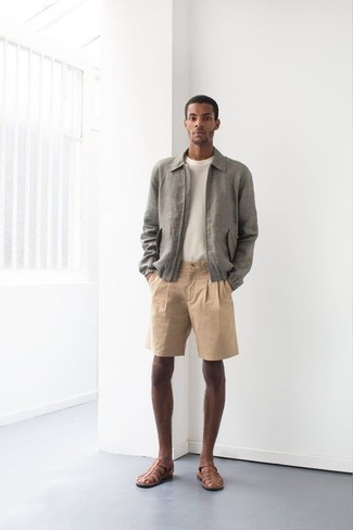 Men's Outfits 2020: If you're seeking to take your casual style game to a new height, pair a grey harrington jacket with tan shorts. Why not complete your look with a pair of brown leather sandals for a more laid-back aesthetic?