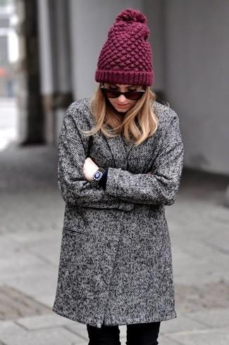 How to wear: grey herringbone coat, black jeans, burgundy beanie