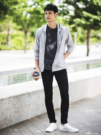 How to wear: grey hoodie, charcoal crew-neck t-shirt, black skinny jeans, white low top sneakers