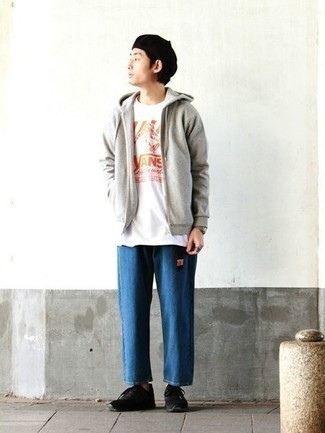 Grey Hoodie Outfits For Men: We love how a grey hoodie matches with blue jeans. If you want to easily tone down your ensemble with one single piece, add a pair of black athletic shoes.