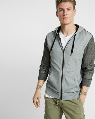 How to wear: grey hoodie, white v-neck t-shirt, olive cargo pants