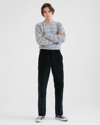 Black Corduroy Chinos Outfits: For relaxed dressing with a contemporary spin, go for a grey horizontal striped crew-neck sweater and black corduroy chinos. A trendy pair of navy and white canvas high top sneakers is an effective way to infuse a dose of stylish effortlessness into your getup.