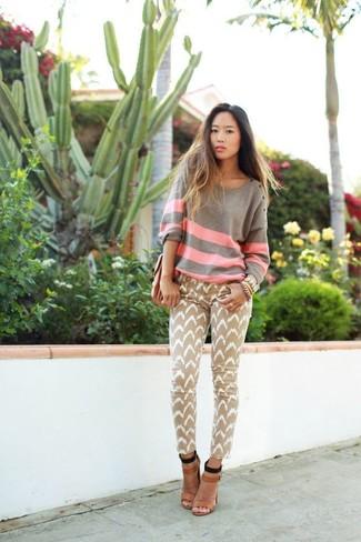 Women's Grey Horizontal Striped Oversized Sweater, Khaki Chevron Jeans, Tan Leather Heeled Sandals
