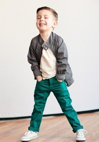 Boys' Looks & Outfits: What To Wear In 2020: Suggest that your munchkin dress in a grey jacket and green jeans for a fun day out at the playground. As for footwear your kid will love white sneakers for this getup.