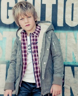 How to Wear a Grey Jacket For Boys: Suggest that your little angel wear a grey jacket with navy jeans for a fun day out at the playground.