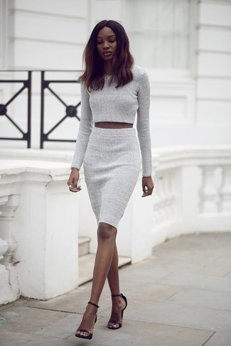 Women's Grey Knit Cropped Sweater, Grey Knit Pencil Skirt, Black ...