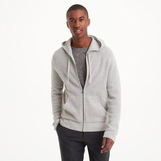 Men's Grey Knit Hoodie, Grey Crew-neck T-shirt, Charcoal Dress Pants