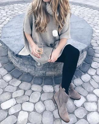 Ayvan Off Shoulder Knitted Sweater Dress Grey