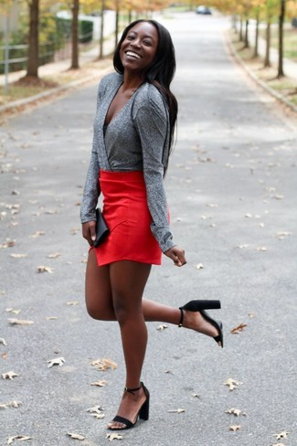 How to wear: grey long sleeve blouse, red mini skirt, black suede heeled sandals