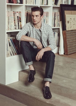 Charcoal Jeans Outfits For Men: To pull together a laid-back outfit with a contemporary spin, you can always rely on a grey plaid long sleeve shirt and charcoal jeans. Go ahead and add black leather derby shoes to the equation for an added touch of polish.