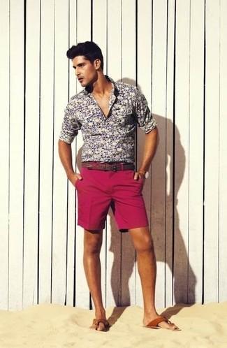 Men's Grey Floral Long Sleeve Shirt, Hot Pink Shorts, Brown Leather Sandals, Brown Leather Belt