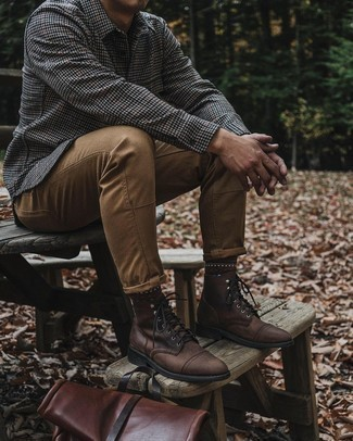 Grey Wool Long Sleeve Shirt Outfits For Men: For a casually dapper ensemble, reach for a grey wool long sleeve shirt and khaki jeans — these pieces fit really well together. Inject your look with a sense of sophistication by slipping into a pair of dark brown leather casual boots.