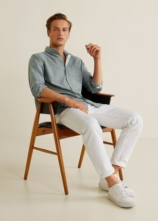 White Chinos Outfits: A grey long sleeve shirt and white chinos are a nice go-to combo to have in your menswear collection. And if you wish to instantly dress down this look with shoes, add a pair of white canvas low top sneakers to the equation.