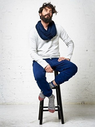 Men's Grey Long Sleeve T-Shirt, Blue Sweatpants, Navy Scarf, Grey Socks