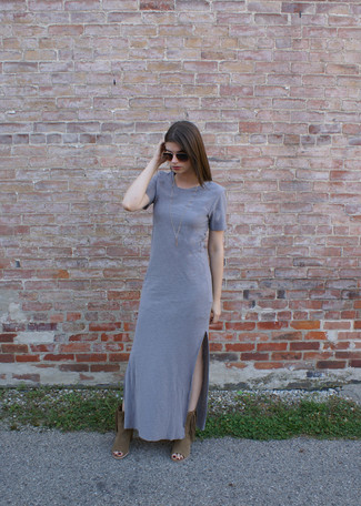 How to wear: grey maxi dress, brown fringe suede ankle boots, dark brown sunglasses, gold necklace
