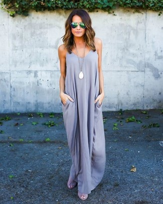 How to wear: grey maxi dress, grey suede heeled sandals, green sunglasses, white pendant