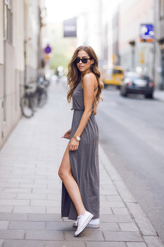 How to wear: grey slit maxi dress, white canvas low top sneakers, gold pendant, gold watch