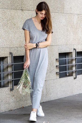 How to wear: grey maxi dress, white low top sneakers