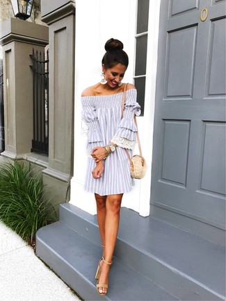 How to Wear Clear Earrings: Demonstrate your outfit coordination chops by marrying a grey vertical striped off shoulder dress and clear earrings for a casual getup. To bring out an elegant side of you, complement this outfit with a pair of beige suede heeled sandals.