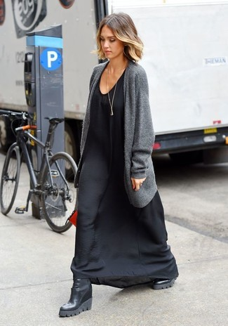 How to wear: grey open cardigan, black silk maxi dress, black leather wedge ankle boots