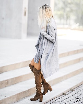 How to wear: grey open cardigan, grey horizontal striped casual dress, brown suede over the knee boots