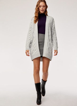 How to wear: grey knit open cardigan, violet turtleneck, grey mini skirt, black leather mid-calf boots