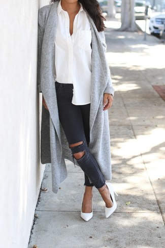 How to wear: grey open cardigan, white dress shirt, charcoal ripped skinny jeans, white leather pumps