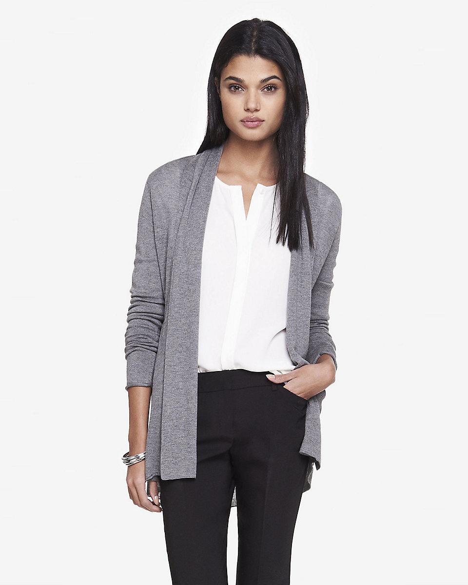 Women's Grey Open Cardigan, White Silk Sleeveless Button Down ...