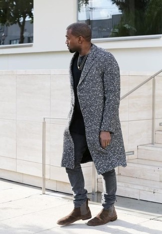 Kanye West wearing Grey Overcoat, Black Crew-neck T-shirt, Grey Skinny Jeans, Dark Brown Suede Chelsea Boots