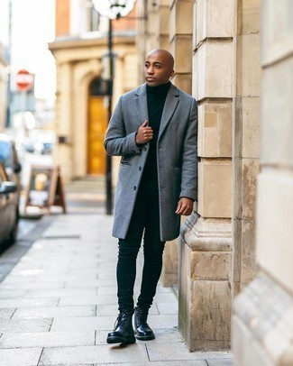 Men's Outfits 2020: Why not consider wearing a grey overcoat and black skinny jeans? As well as totally functional, these items look amazing together. Complete your look with black leather casual boots and the whole ensemble will come together.