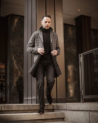 How to Wear Black Suede Chelsea Boots For Men: Dress in a grey plaid overcoat and charcoal jeans if you're aiming for a sleek, on-trend outfit. Dial down the casualness of this ensemble by finishing with a pair of black suede chelsea boots.
