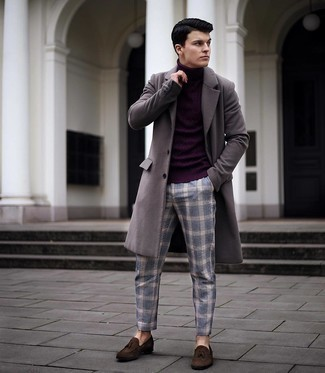1200+ Cold Weather Outfits For Men: This smart casual pairing of a grey overcoat and blue plaid chinos is super easy to put together in no time flat, helping you look stylish and prepared for anything without spending too much time going through your closet. Add an elegant twist to your outfit with a pair of dark brown suede tassel loafers.