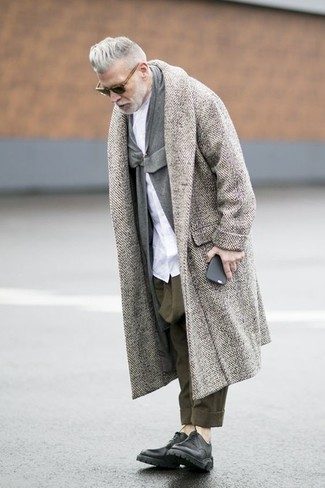 Nick Wooster wearing Grey Herringbone Overcoat, Grey Shawl Cardigan, White Dress Shirt, Olive Chinos