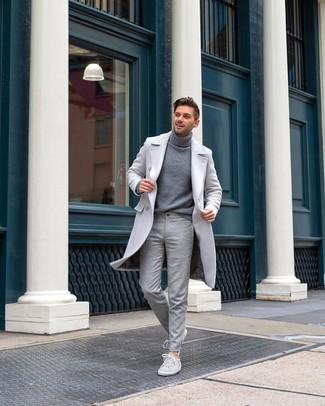 How to wear: grey overcoat, grey turtleneck, grey wool dress pants, grey suede low top sneakers