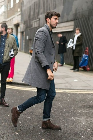 How To Wear Navy Jeans With Dark Brown Boots | Men's Fashion