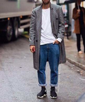 How to wear: grey herringbone overcoat, white long sleeve t-shirt, blue jeans, black athletic shoes